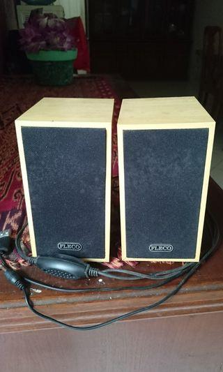 Speaker mini bahan kayu merk Fleco COD tangerang kota