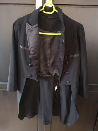 女裝黑色中袖西裝外套