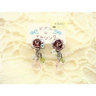 🚚 全新日本夾式耳環紫花