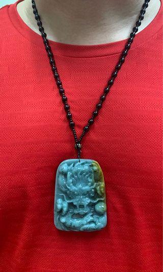 Jade Necklace Jadeite Pendant 天然A货翡翠龙牌