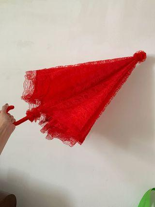 Red Umbrella covered with full lace for Wedding