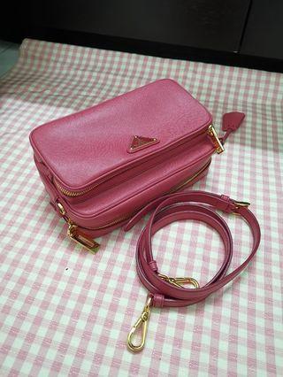 Authentic PRADA safiano double zip sling bag