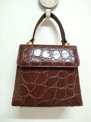 Dark Brown Croc Embossed Leather Mini Handbag