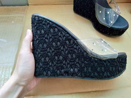 🚚 12cm黑色厚底鞋,23號