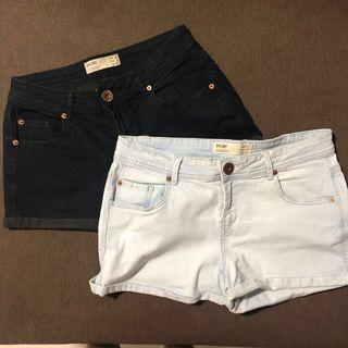 COTTON ON denim shorts in black and blue