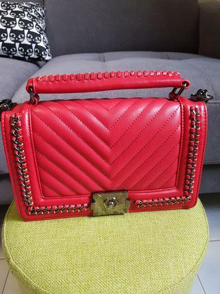 Chanel Boy Chevron Red and Black◇ Reduce to clear