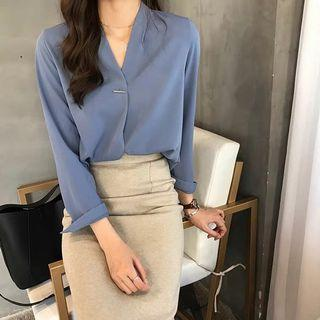 Korean Chiffon Blue Blouse