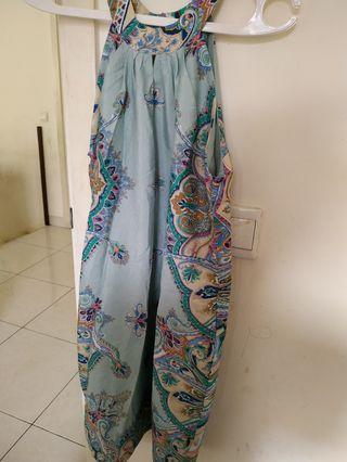 Dress sifon blue etnik