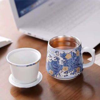 青花瓷純銀鎏銀馬克杯