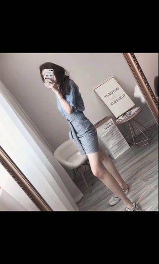 🚚 2019 夏季新款 氣質 兩件套 一字肩 連衣裙