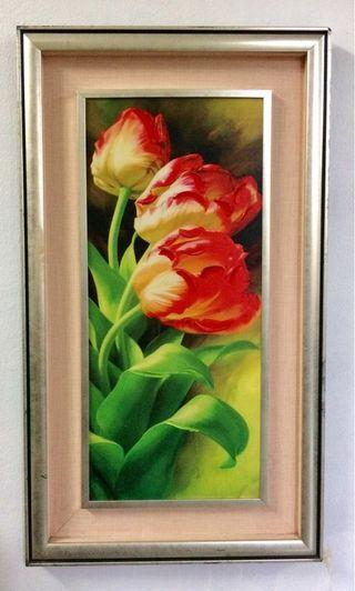 Vintage Red Tulips Painting 70x40cms