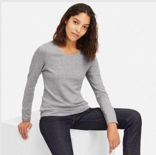 Uniqlo Grey Ribbed Cotton Long Sleeve Top