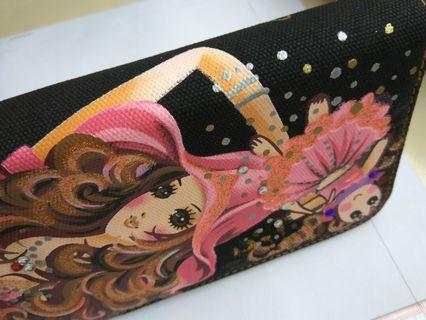 Rhinestones Doll & Girl drawing Glittering canvas long wallet 手繪娃娃美女圖閃閃帆布閃石風琴錢包