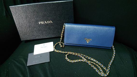 (購至意大利)Prada saffiano chain bag 藍色金鏈手袋