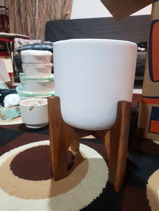 White vase with stand