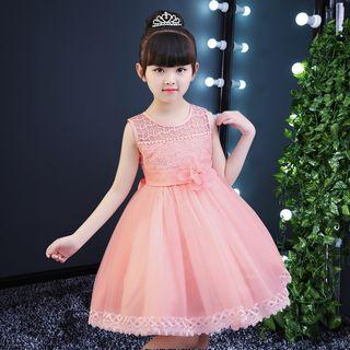 Kids Girls Flower Girl Dress/Party Dress/Princess Dress (Pink Pearl with lace)
