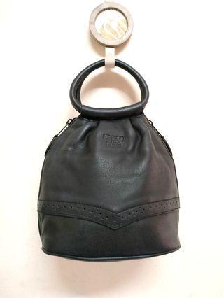 Black Urban Chic Genuine Leather Bucket Bag