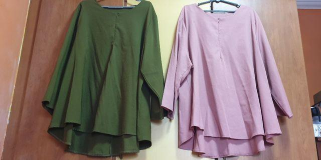🚚 Plus Size Blouse [Green and Pink - 1pcs each]