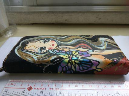 韓版手繪美女轉印閃閃帆布閃石風琴錢包 Pretty woman drawing Rhinestones Glittering Canvas Long Wallet