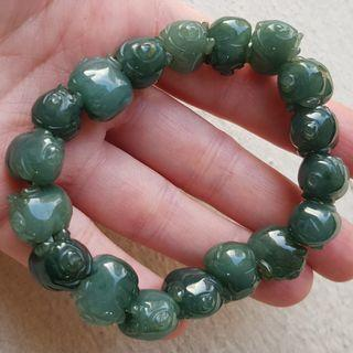 Certified Type A Icy Jadeite Bracelet Ice Oily Green Jade 13.6x10.3x10mm Piglet Boar Pig Stretchable