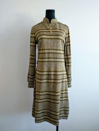 Vintage gold pattern high neck shift dress size 10 12