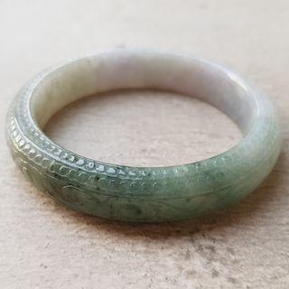 55mm Certified Type A Jadeite Bangle Tri-color Lavender Green Jade