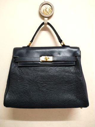 Navy Blue Genuine Leather ' KELLY ' Handbag