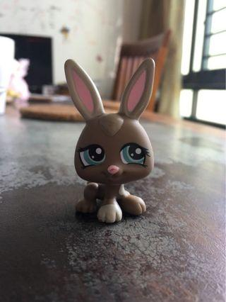 LPS #1332 Bunny Petriplet Brown Baby Bunny Rabbit with Blue Eyes Littlest Pet Shop
