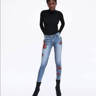 Zara Embroidered Skinny Jeans