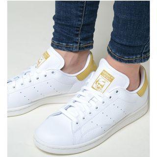 現貨 iShoes正品 Adidas Stan Smith 情侶鞋 女鞋 男鞋 白黃 復古奶油 皮革 白鞋 BD7437