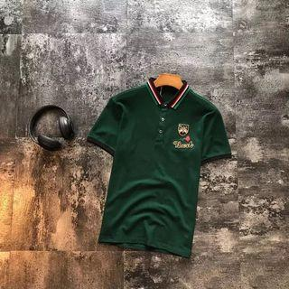 GUCCI polo with web collar embroideries