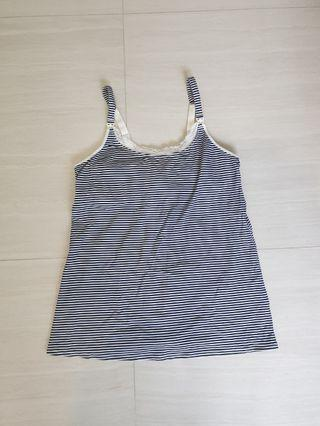 🚚 Cami nursing top with lace & stripes