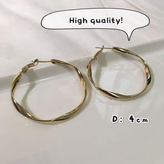 金色耳環 波浪 gold earrings high quality