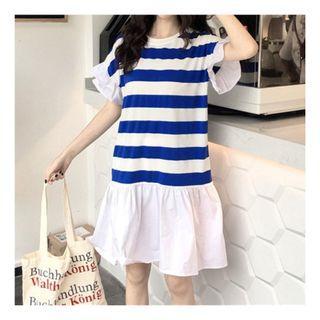 🚚 CC0148海軍藍條紋休閒連身裙