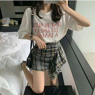 (PO) 2 Items - Ulzzang Letters Top and Unsymmetrical Skirt