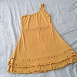 Mustard Kitschen Toga / One Shouldered Dress