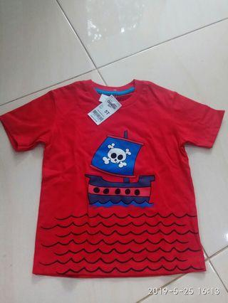 Kaos boy merah lucu 5y Baru yah