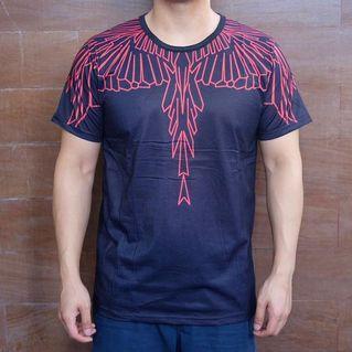 Kaos Pria black red wings3D