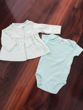 Carter's set romper n cardigan
