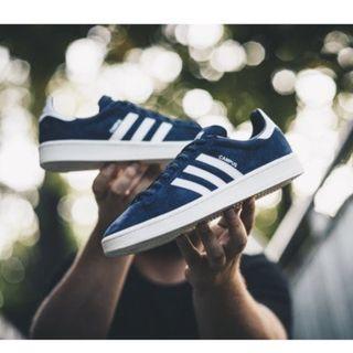 現貨 iShoes正品 Adidas Campus 男鞋 藍 白 奶油 麂皮 基本款 運動鞋 休閒鞋 板鞋 BZ0086