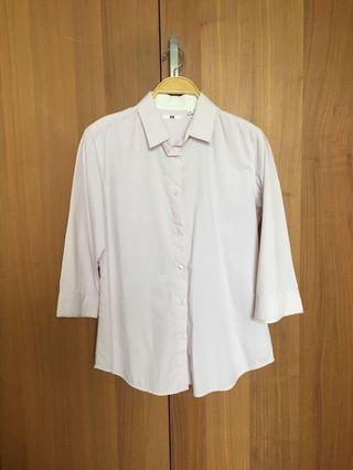 Uniqlo pink shirt in stripes