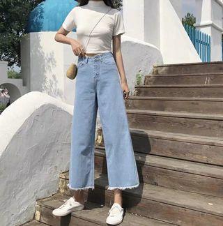 全新淺藍色闊腳牛仔褲寬鬆顯瘦百搭九分褲jeans legging
