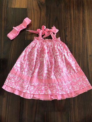 Like new! Beach pink dress free bandana