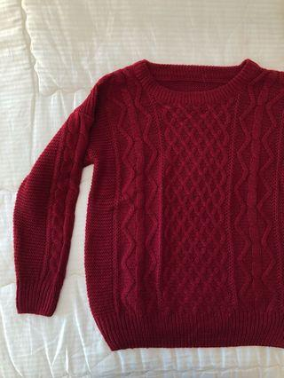 Burgundy / Maroon / Red Knit Woolen Sweater / Jumper