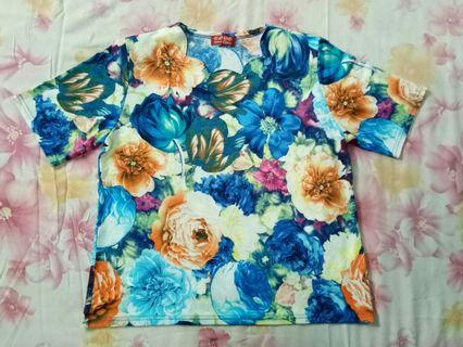 Kaos Korea Bunga Biru
