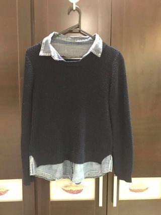 🚚 文青風假兩件毛衣襯衫