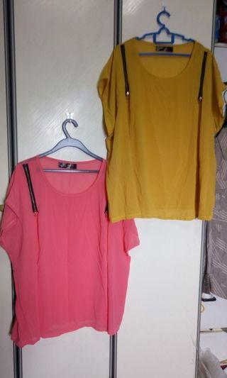 Super plus sized zippered chiffon blouse in mustard and pink