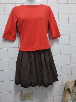 五分袖上衣+古著短裙