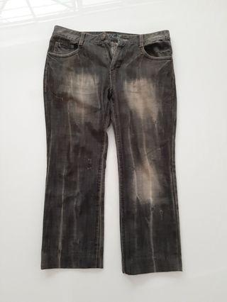 Mens Black Washed Jeans Size 35.5 to 36