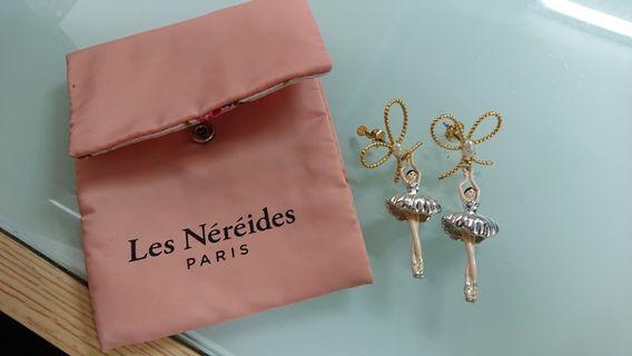 全新 - Les nereides earrings 耳環 - 銀色芭蕾舞 / 蝴蝶珍珠扣
